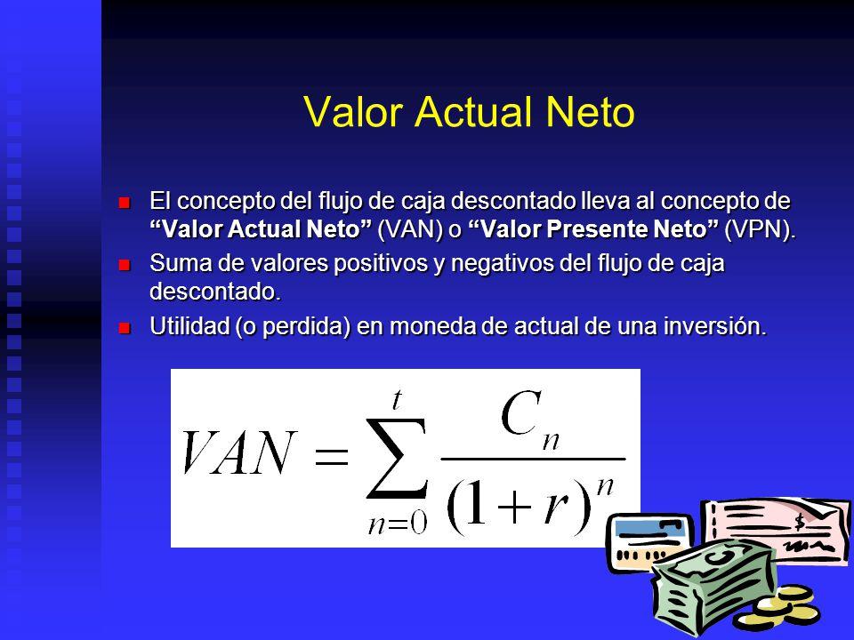Valor Actual Neto El concepto del flujo de caja descontado lleva al concepto de Valor Actual Neto (VAN) o Valor Presente Neto (VPN).