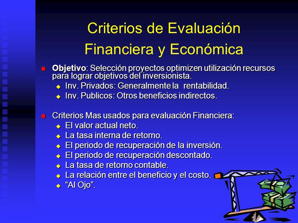 Criterios de Evaluación Financiera y Económica