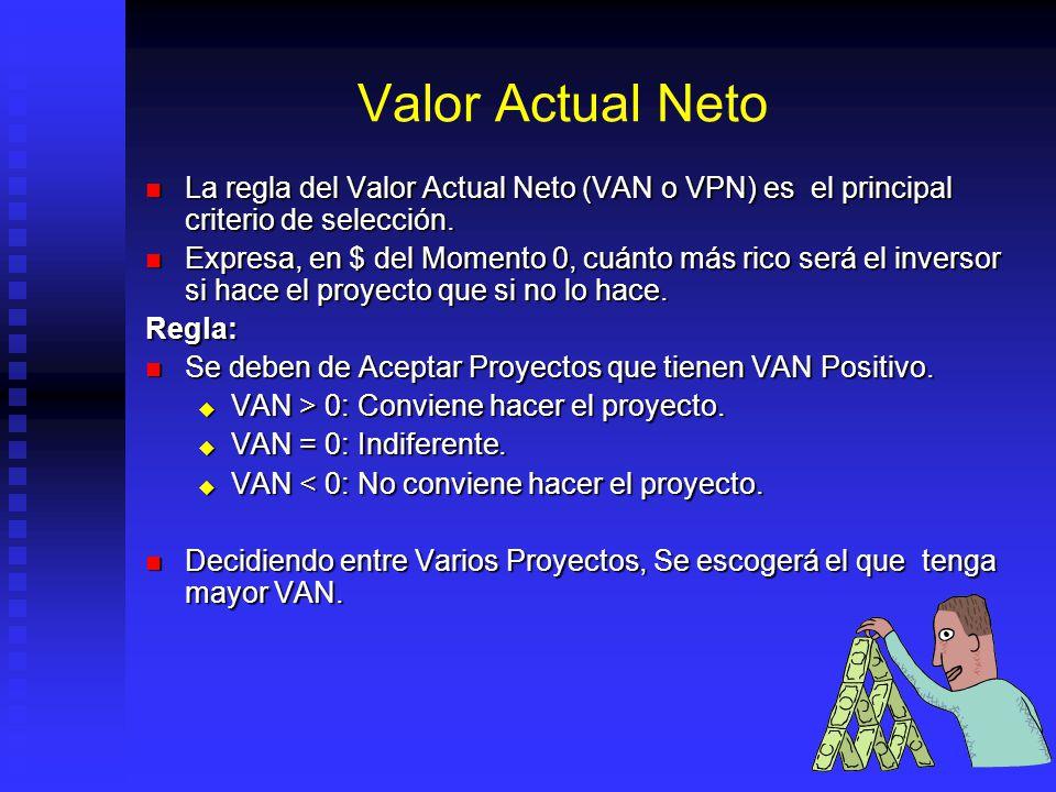 Valor Actual Neto La regla del Valor Actual Neto (VAN o VPN) es el principal criterio de selección.