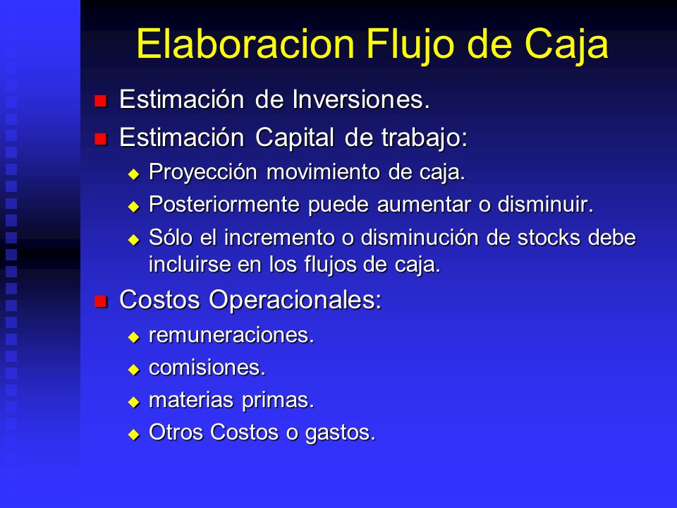 Elaboracion Flujo de Caja