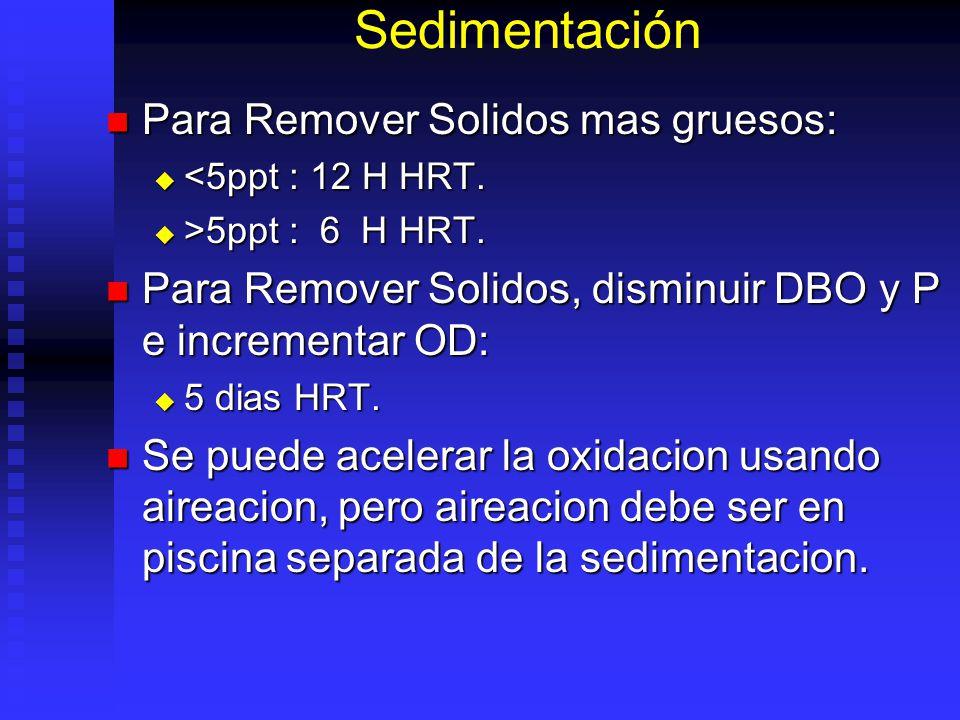 Sedimentación Para Remover Solidos mas gruesos: