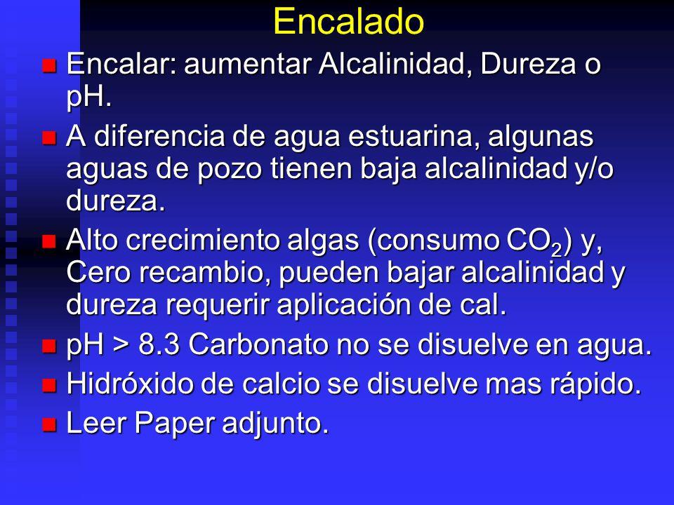 Encalado Encalar: aumentar Alcalinidad, Dureza o pH.