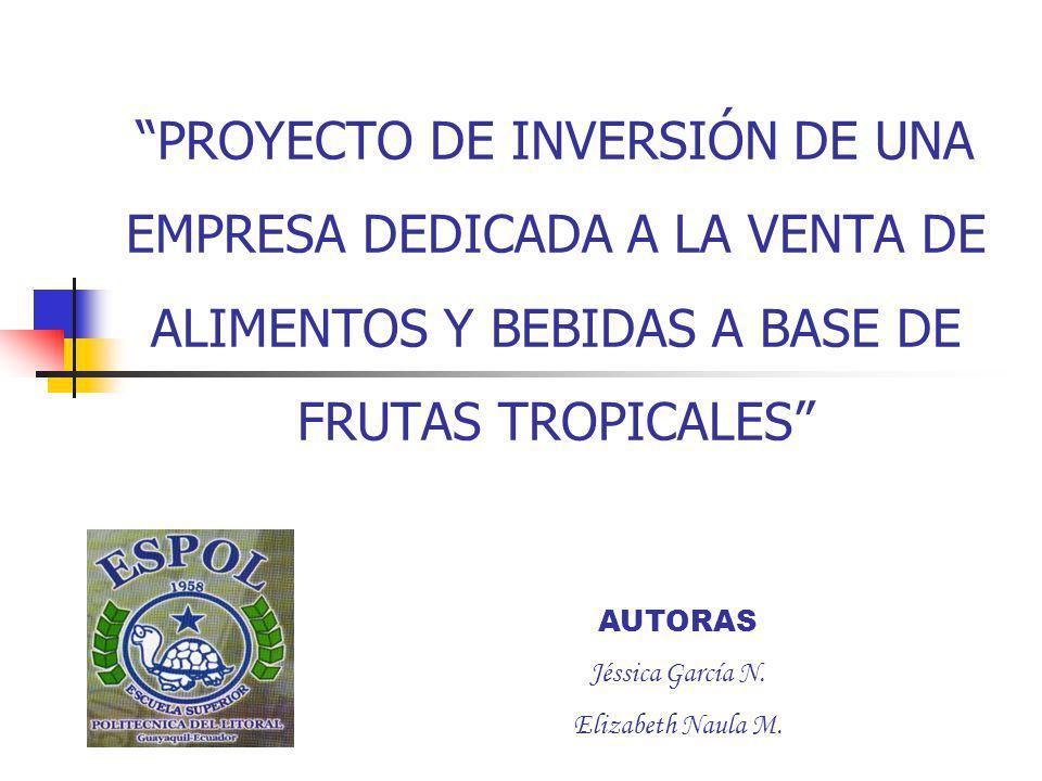 PROYECTO DE INVERSIÓN DE UNA EMPRESA DEDICADA A LA VENTA DE ALIMENTOS Y BEBIDAS A BASE DE FRUTAS TROPICALES
