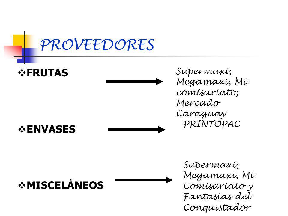 PROVEEDORES FRUTAS ENVASES MISCELÁNEOS