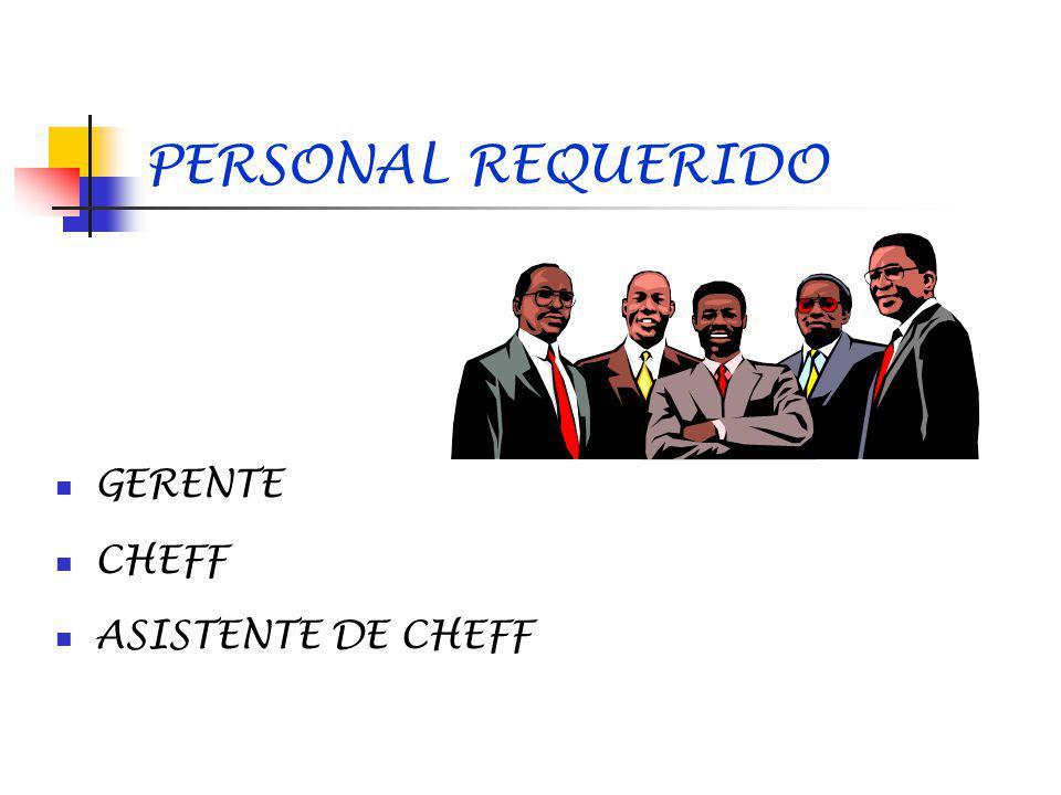 PERSONAL REQUERIDO GERENTE CHEFF ASISTENTE DE CHEFF