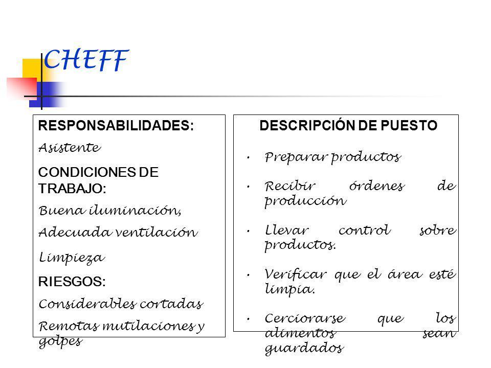 CHEFF RESPONSABILIDADES: CONDICIONES DE TRABAJO: RIESGOS: