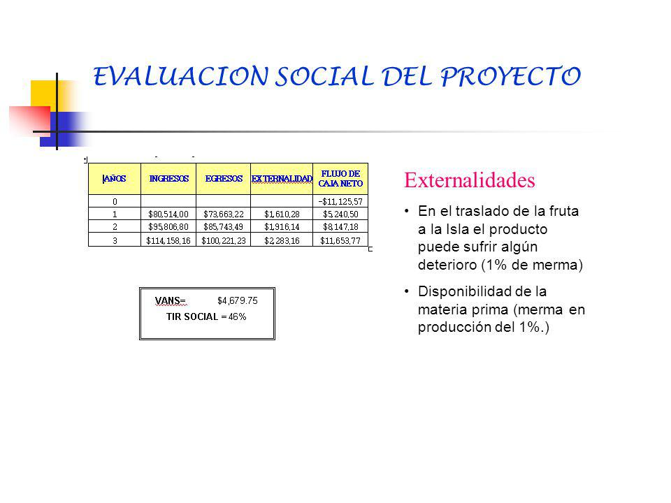 EVALUACION SOCIAL DEL PROYECTO