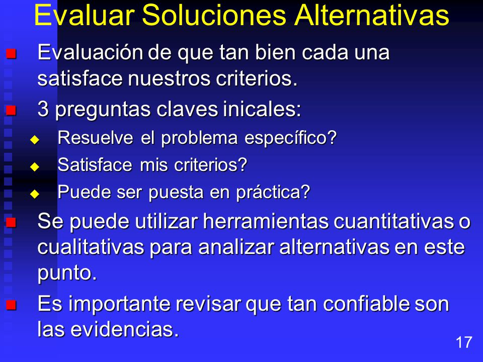 Evaluar Soluciones Alternativas