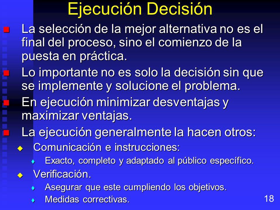 Ejecución Decisión La selección de la mejor alternativa no es el final del proceso, sino el comienzo de la puesta en práctica.