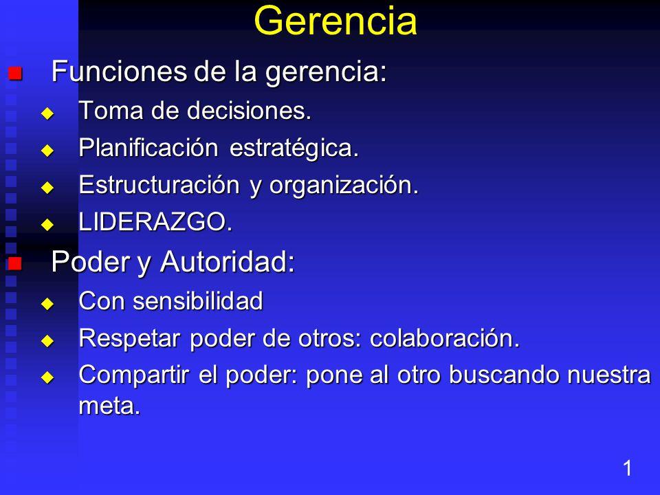 Gerencia Funciones de la gerencia: Poder y Autoridad: