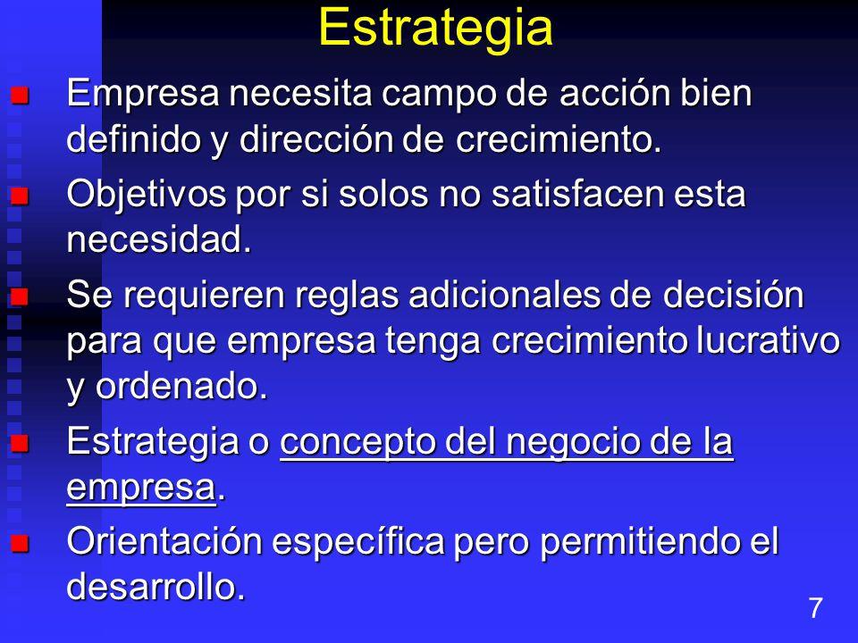 Estrategia Empresa necesita campo de acción bien definido y dirección de crecimiento. Objetivos por si solos no satisfacen esta necesidad.