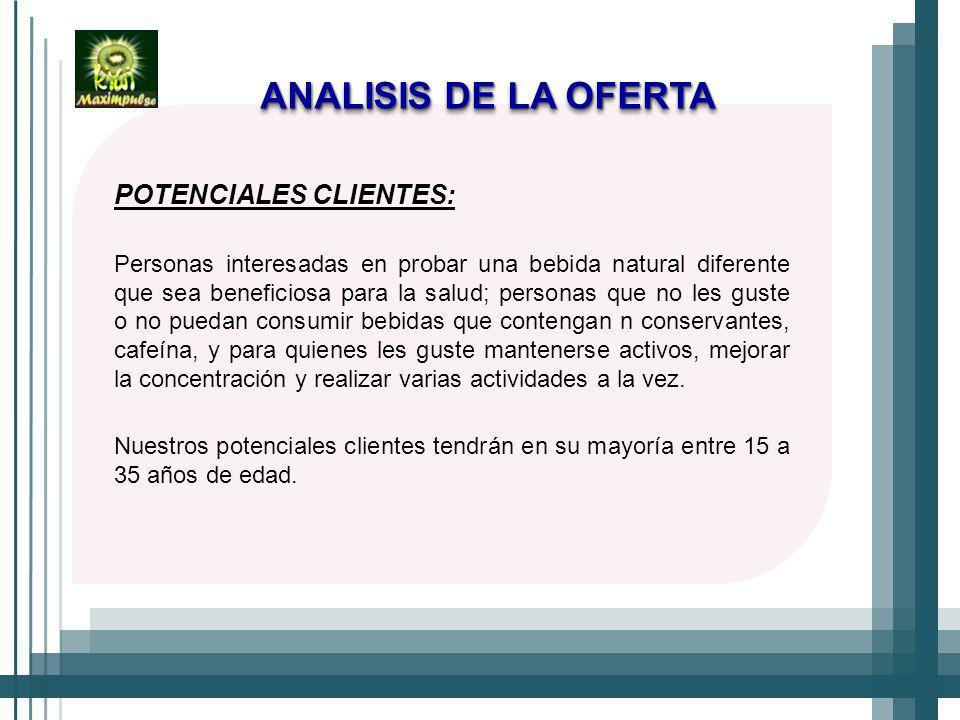 ANALISIS DE LA OFERTA POTENCIALES CLIENTES: