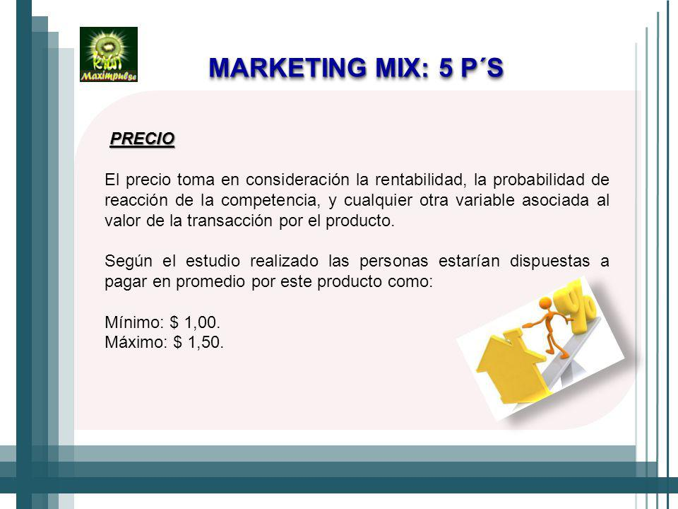MARKETING MIX: 5 P´S PRECIO