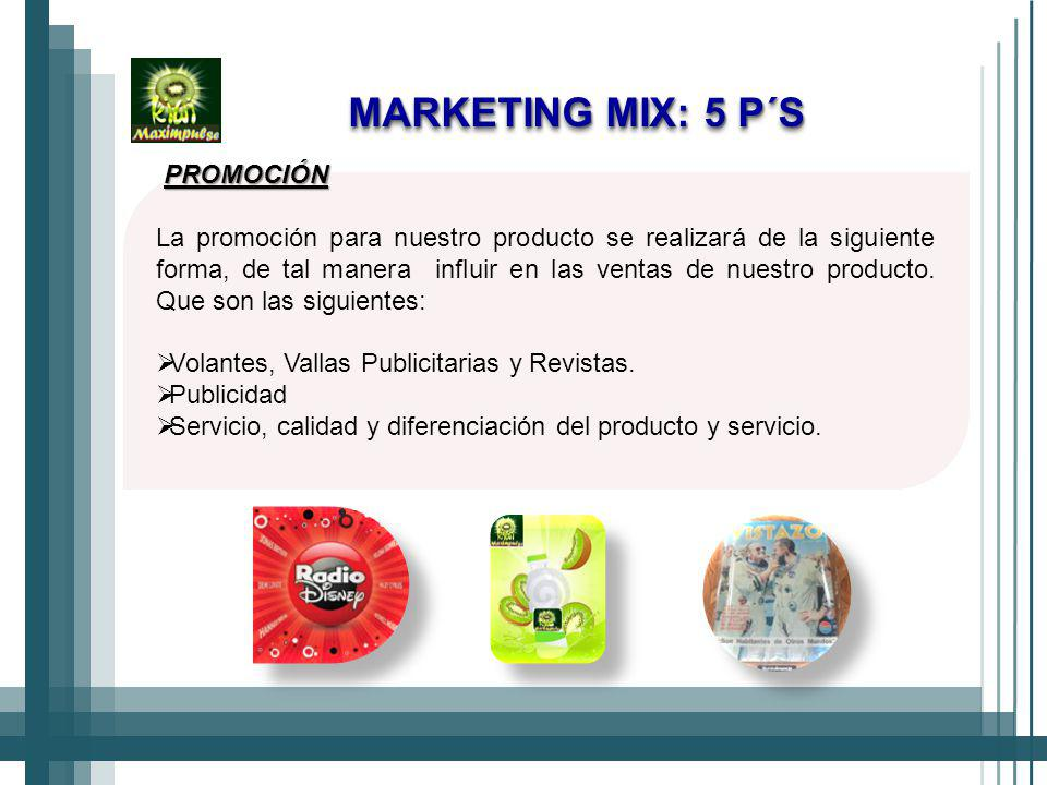 MARKETING MIX: 5 P´S PROMOCIÓN