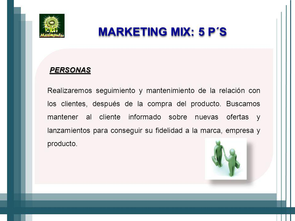 MARKETING MIX: 5 P´S PERSONAS