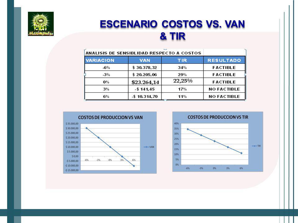 ESCENARIO COSTOS VS. VAN & TIR