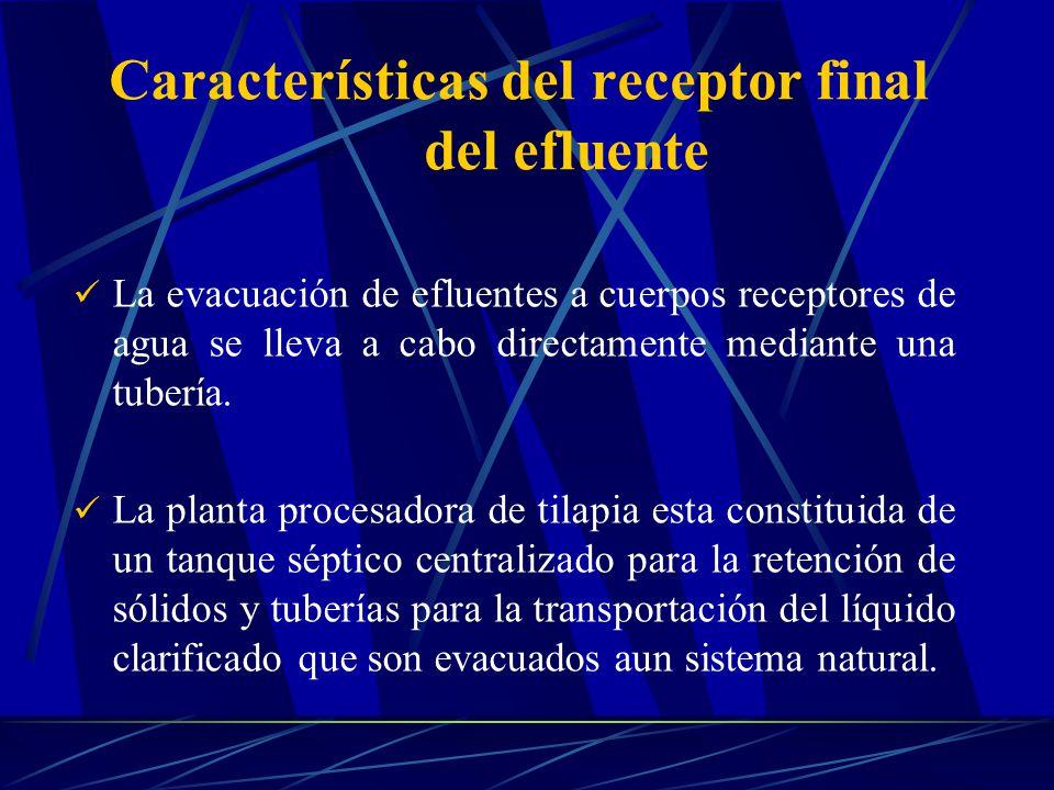 Características del receptor final del efluente