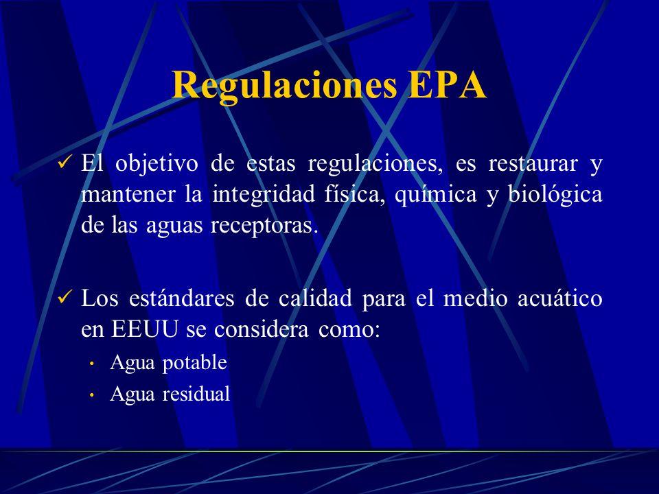 Regulaciones EPA El objetivo de estas regulaciones, es restaurar y mantener la integridad física, química y biológica de las aguas receptoras.