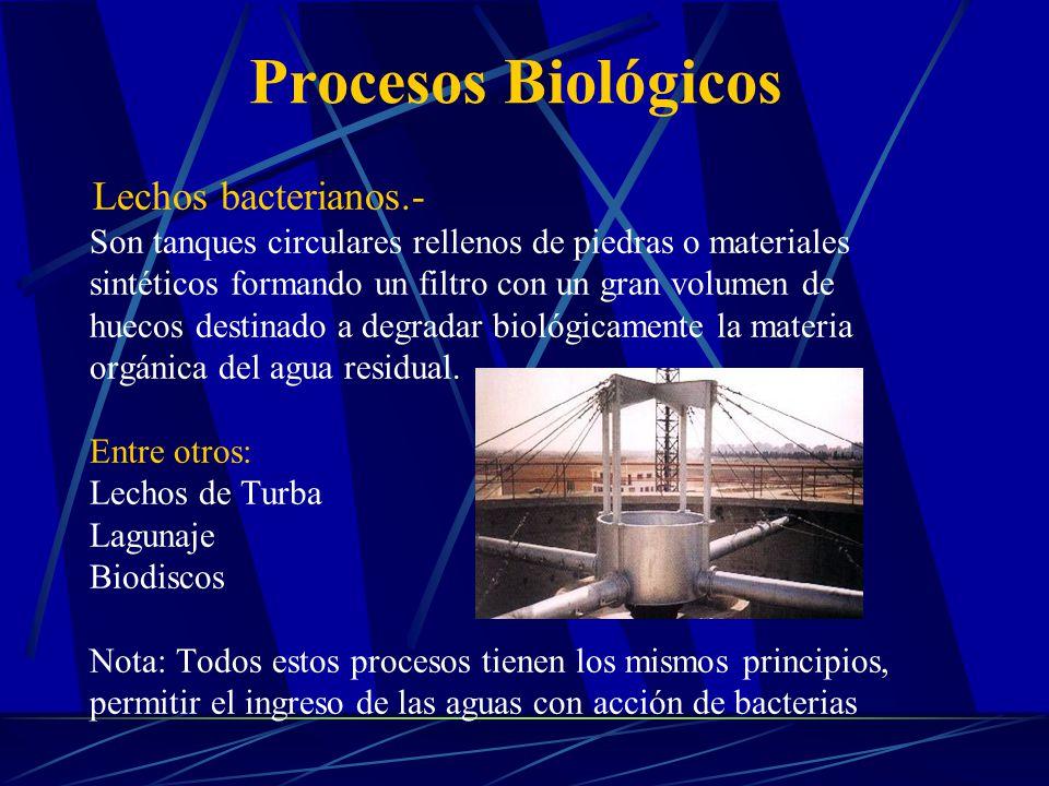 Procesos Biológicos Lechos bacterianos.- Son tanques circulares rellenos de piedras o materiales.