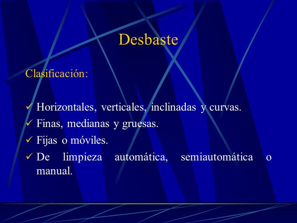 Desbaste Clasificación: Horizontales, verticales, inclinadas y curvas.