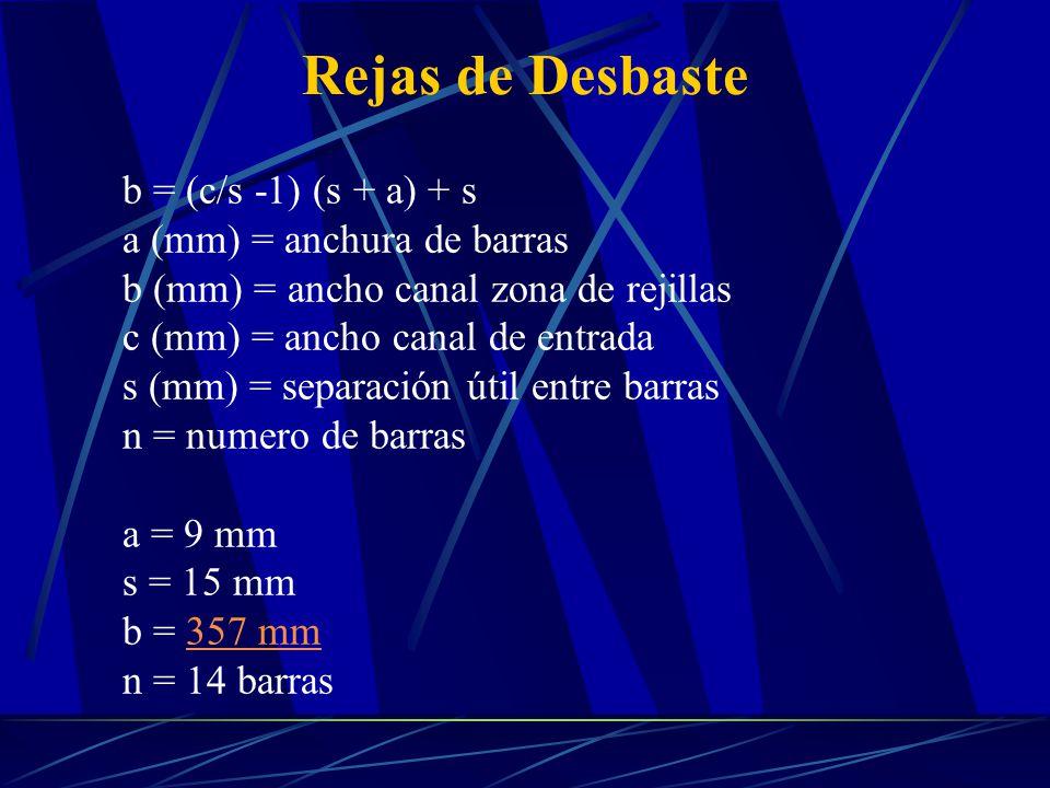 Rejas de Desbaste b = (c/s -1) (s + a) + s a (mm) = anchura de barras