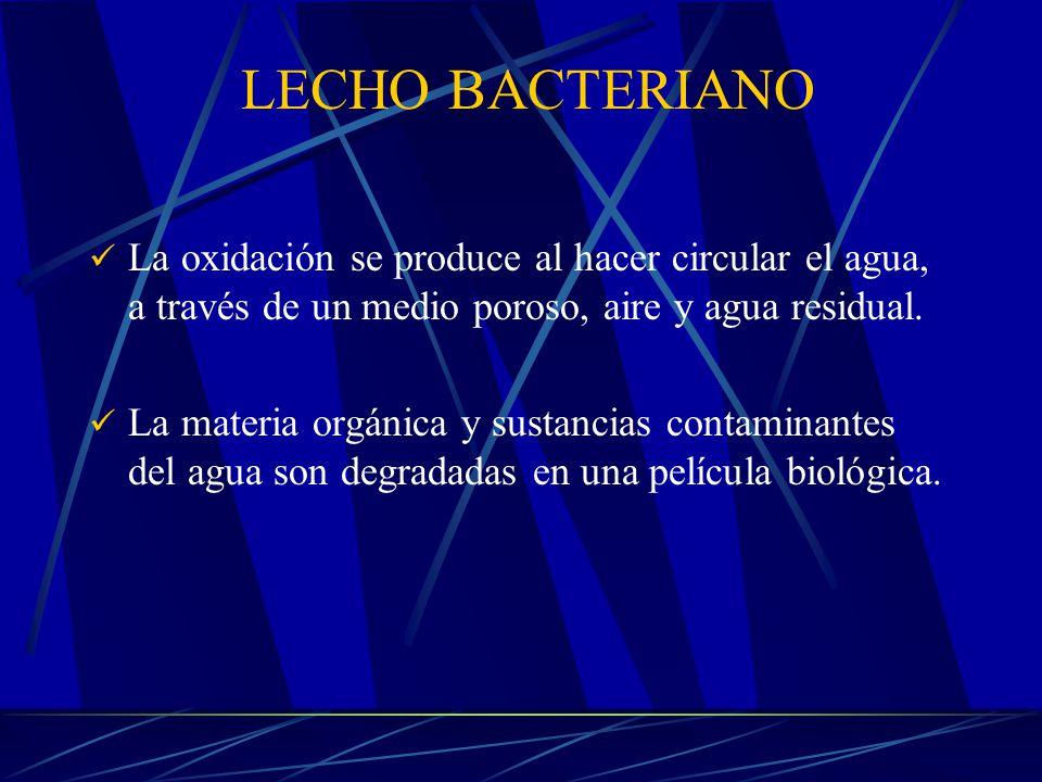 LECHO BACTERIANO La oxidación se produce al hacer circular el agua, a través de un medio poroso, aire y agua residual.