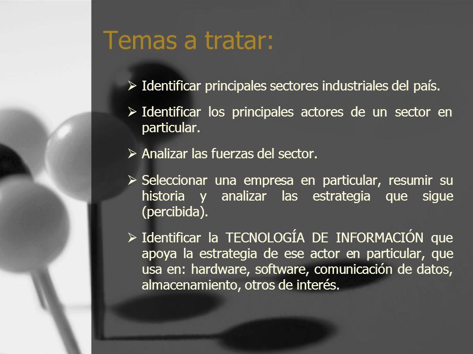 Temas a tratar: Identificar principales sectores industriales del país. Identificar los principales actores de un sector en particular.