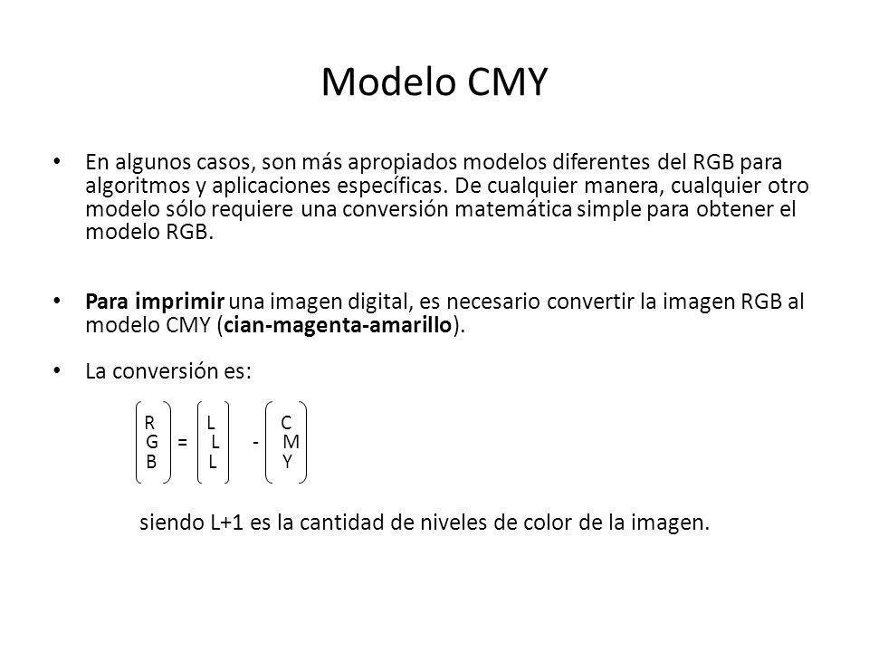 Modelo CMY En algunos casos, son más apropiados modelos diferentes del RGB para.