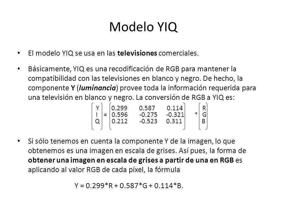 Modelo YIQ El modelo YIQ se usa en las televisiones comerciales.