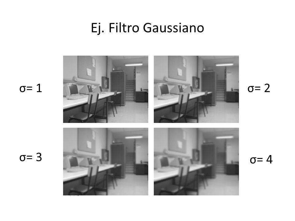 Ej. Filtro Gaussiano σ= 1 σ= 2 σ= 3 σ= 4