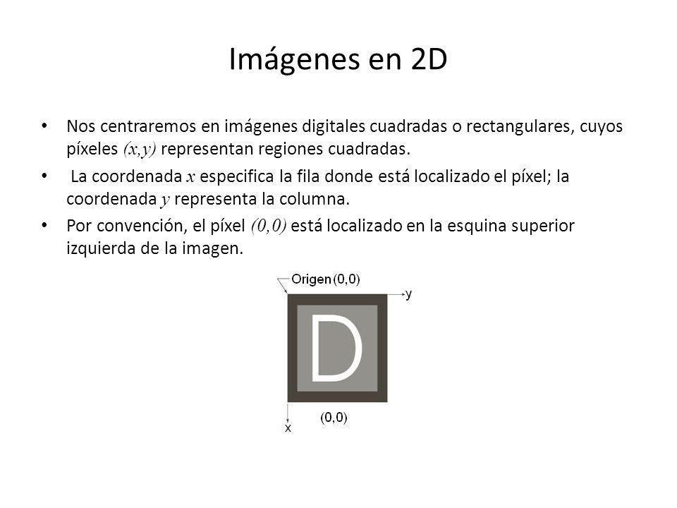 Imágenes en 2D Nos centraremos en imágenes digitales cuadradas o rectangulares, cuyos píxeles (x,y) representan regiones cuadradas.