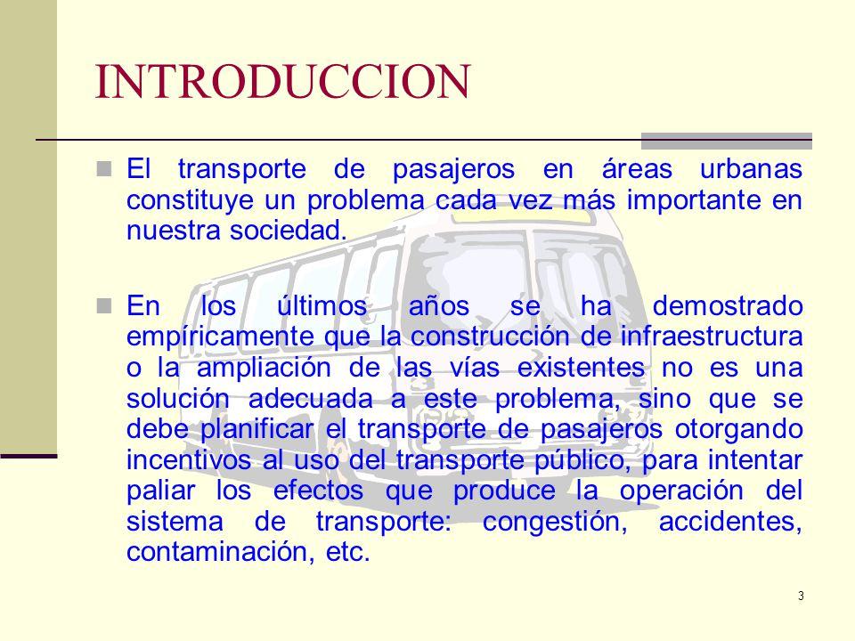 INTRODUCCION El transporte de pasajeros en áreas urbanas constituye un problema cada vez más importante en nuestra sociedad.