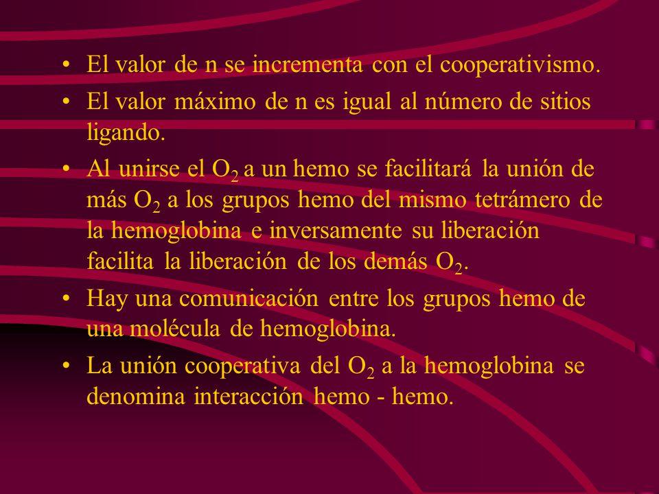 El valor de n se incrementa con el cooperativismo.