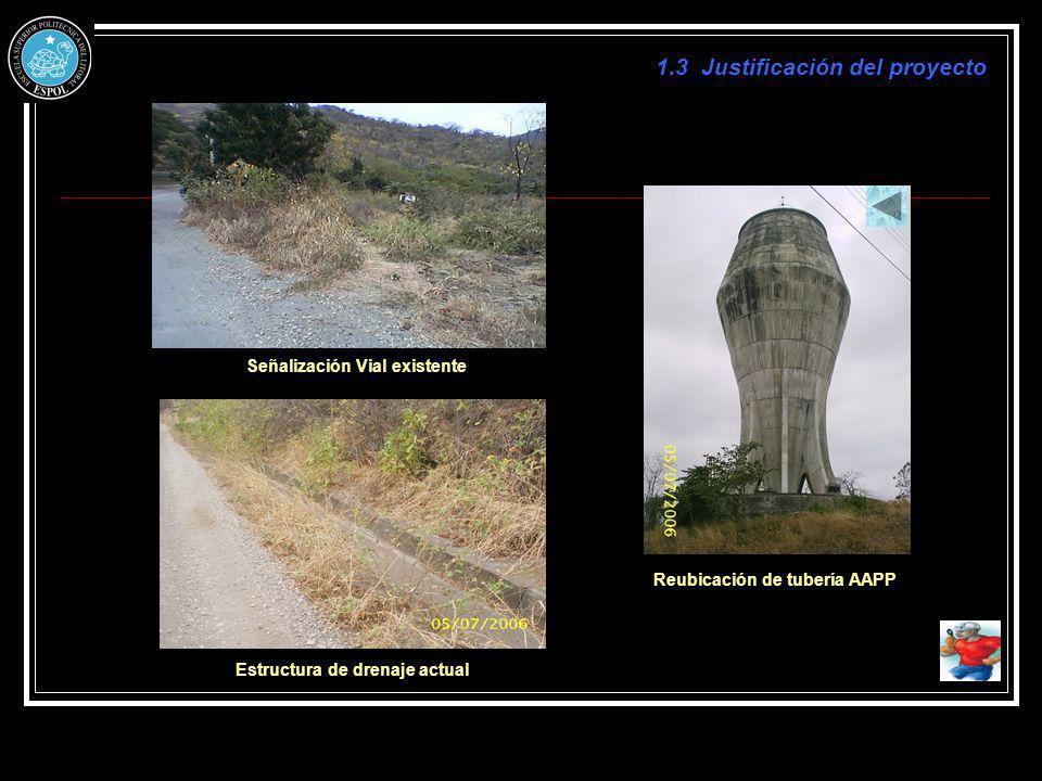 Señalización Vial existente Reubicación de tubería AAPP