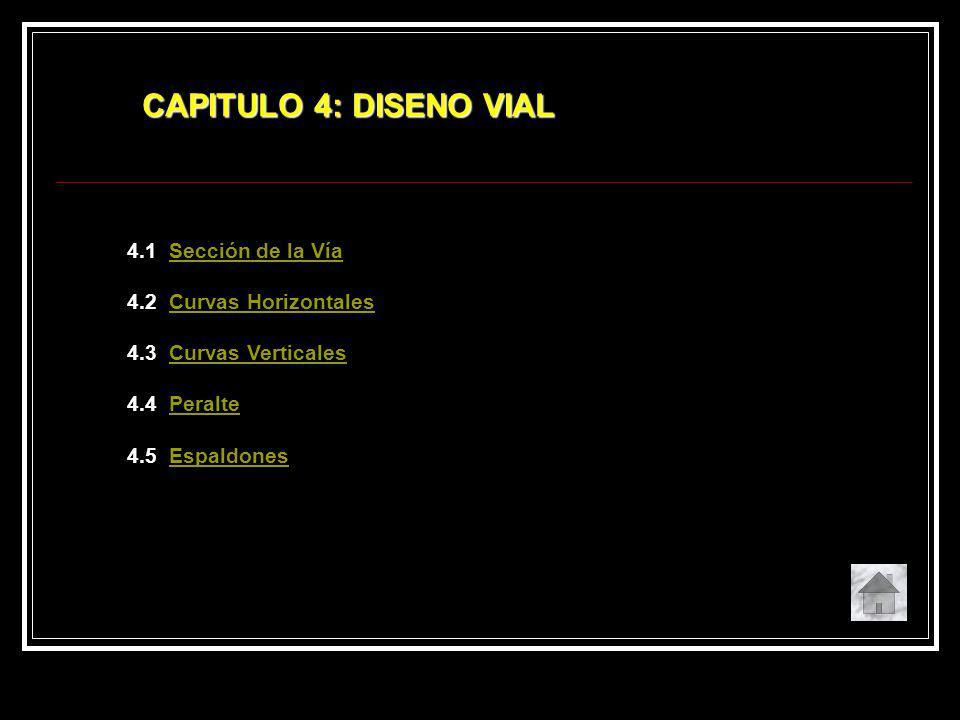 CAPITULO 4: DISENO VIAL 4.1 Sección de la Vía 4.2 Curvas Horizontales