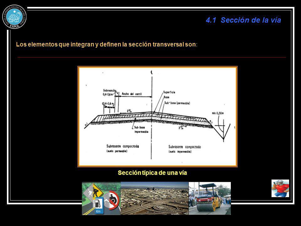 4.1 Sección de la vía Los elementos que integran y definen la sección transversal son: Sección típica de una vía.