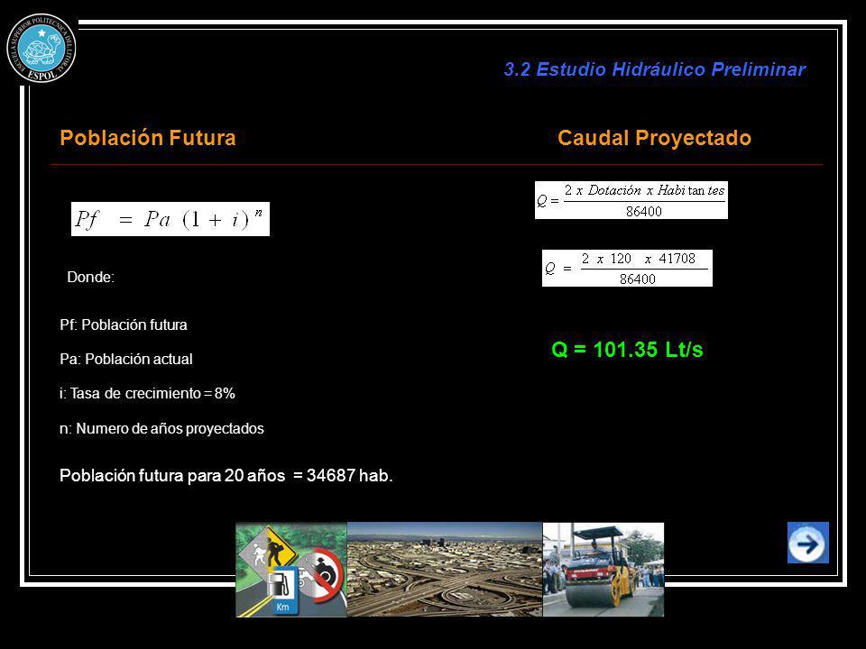Población Futura Caudal Proyectado Q = 101.35 Lt/s