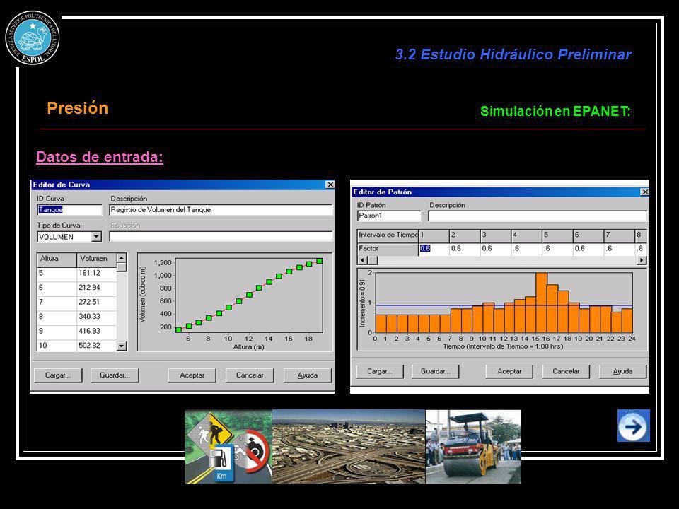 Presión 3.2 Estudio Hidráulico Preliminar Datos de entrada:
