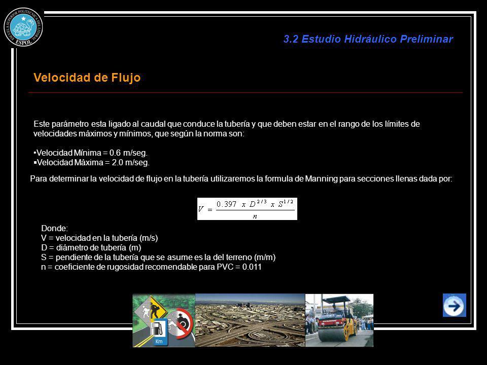 Velocidad de Flujo 3.2 Estudio Hidráulico Preliminar