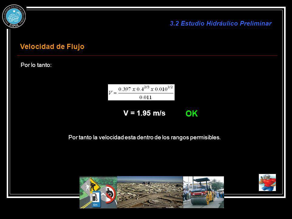 OK Velocidad de Flujo V = 1.95 m/s 3.2 Estudio Hidráulico Preliminar