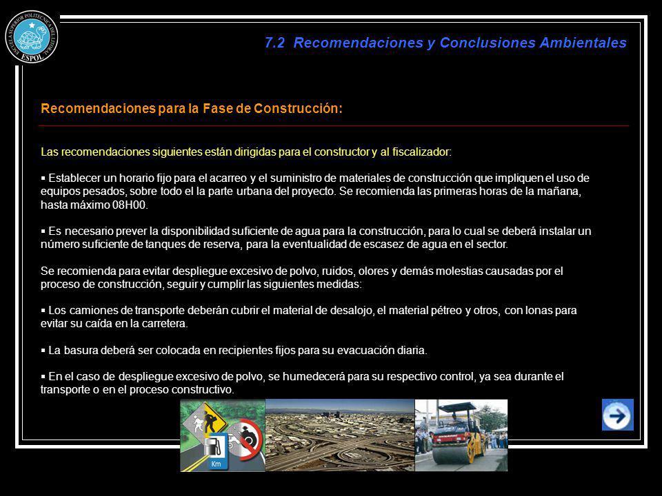 7.2 Recomendaciones y Conclusiones Ambientales