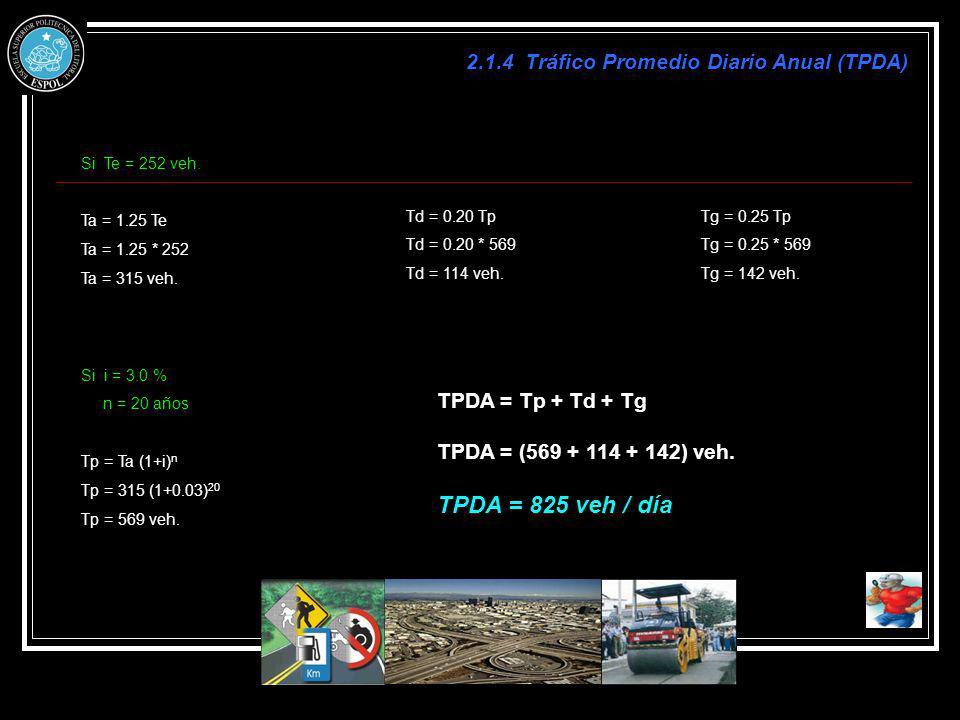 TPDA = 825 veh / día 2.1.4 Tráfico Promedio Diario Anual (TPDA)