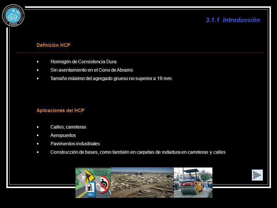 3.1.1 Introducción Definición HCP Hormigón de Consistencia Dura