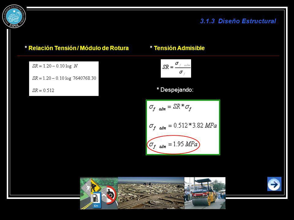 3.1.3 Diseño Estructural * Relación Tensión / Módulo de Rotura