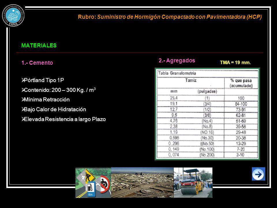 Rubro: Suministro de Hormigón Compactado con Pavimentadora (HCP)