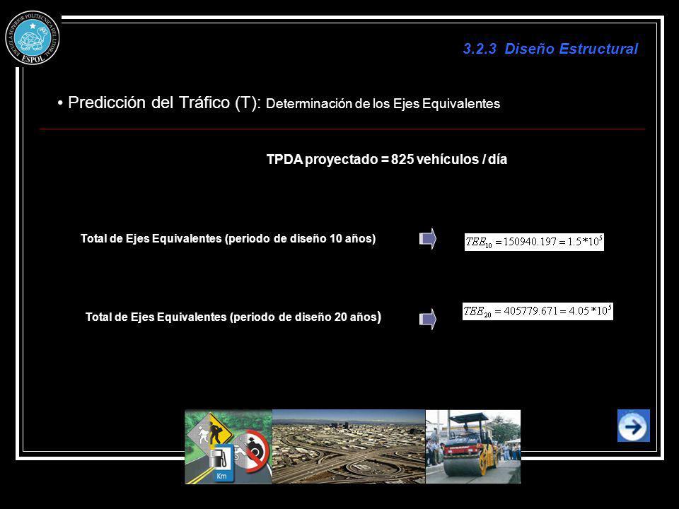 Predicción del Tráfico (T): Determinación de los Ejes Equivalentes