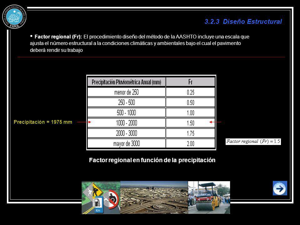 3.2.3 Diseño Estructural Factor regional (Fr): El procedimiento diseño del método de la AASHTO incluye una escala que.