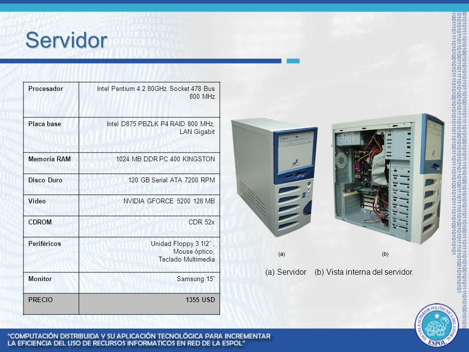 Servidor (a) Servidor (b) Vista interna del servidor. Procesador