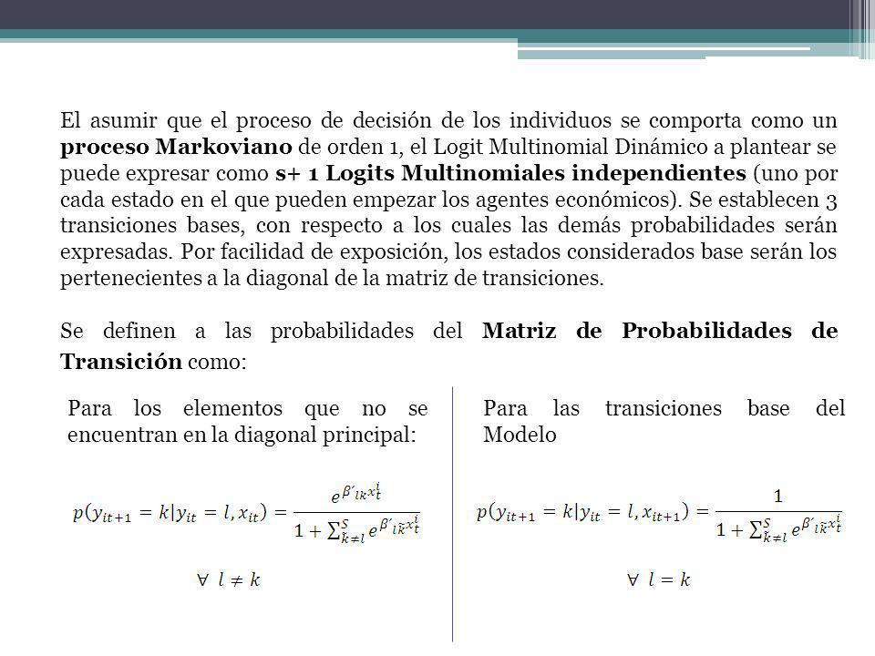 El asumir que el proceso de decisión de los individuos se comporta como un proceso Markoviano de orden 1, el Logit Multinomial Dinámico a plantear se puede expresar como s+ 1 Logits Multinomiales independientes (uno por cada estado en el que pueden empezar los agentes económicos). Se establecen 3 transiciones bases, con respecto a los cuales las demás probabilidades serán expresadas. Por facilidad de exposición, los estados considerados base serán los pertenecientes a la diagonal de la matriz de transiciones.