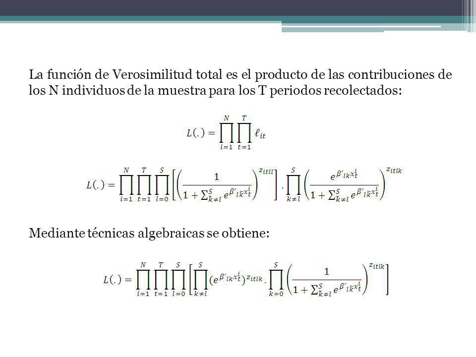 La función de Verosimilitud total es el producto de las contribuciones de los N individuos de la muestra para los T periodos recolectados: